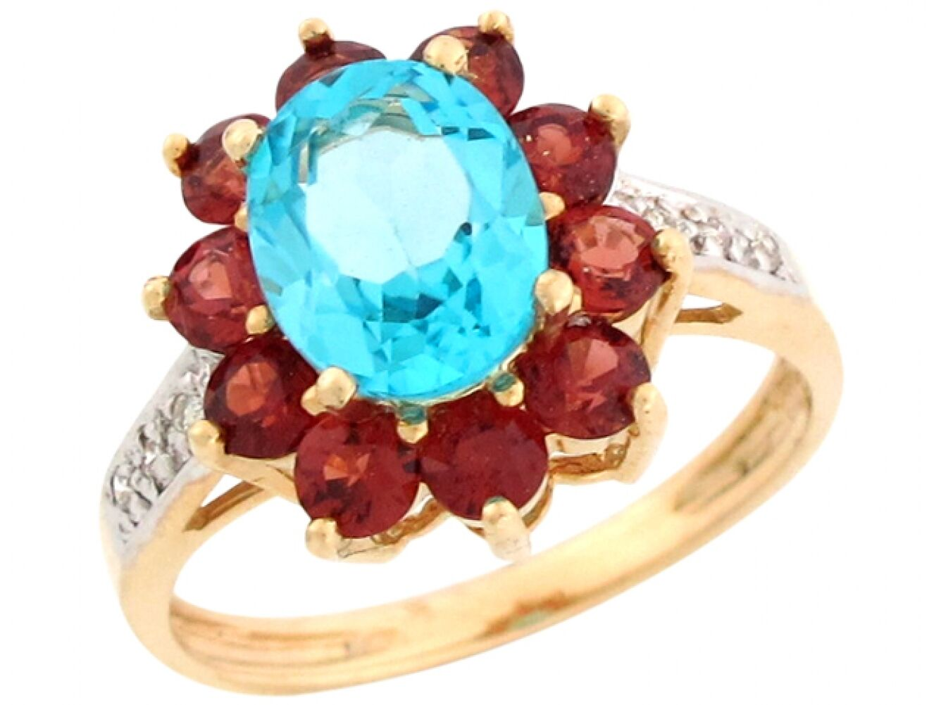 10k   14k Two-Tone gold bluee Topaz with Garnet and Diamond Ladies Exquisite Ring