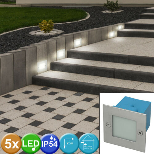 5er Set LED Chrom Einbau Leuchten Außen Wand Decken Lampen IP54 Terrasse EEK A