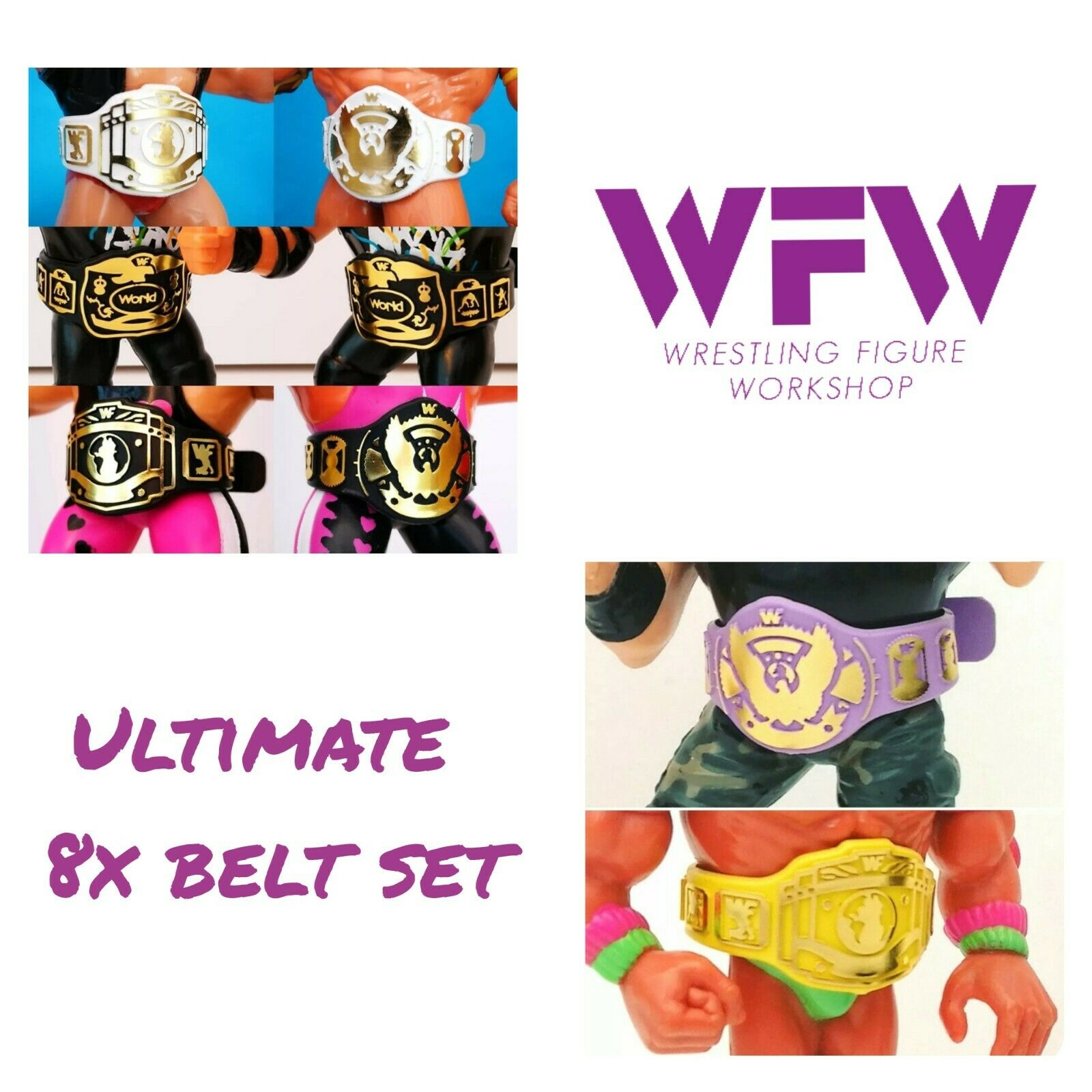 Belts for WWF Hasbro WWE Mattel Wrestling Figures - 8x Belt Set WFW