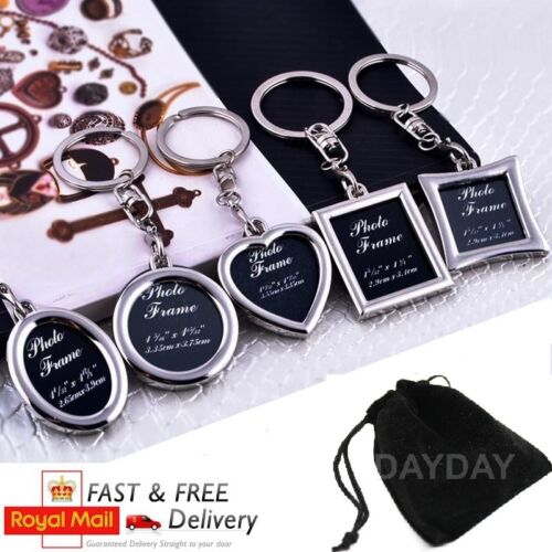 photo frame keyring silver metal keychain gift for him her mum dad uk seller