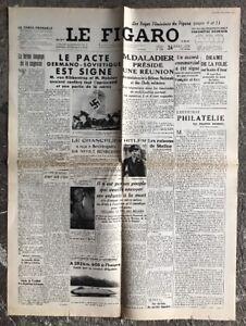 N113-La-Une-Du-Journal-Le-Figaro-24-Aout-1939