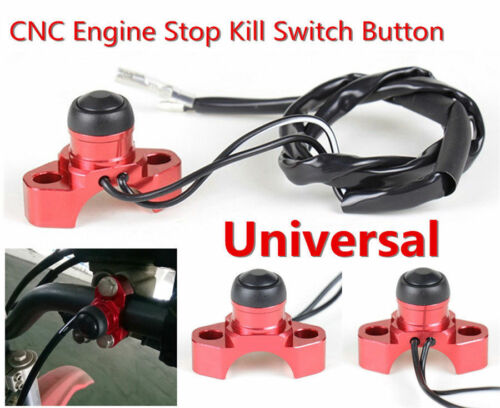 Red Motorcycle Scooters CNC Billet Aluminum Engine Stop Start Kill Switch Button