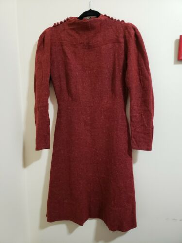 Vintage 1930's 30s Red Rust Wool Day Dress VTG SM/