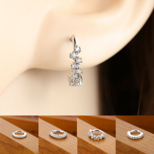 Surgical Steel Labrets Lip Cartilage Helix Ear Studs Rhinestone Tragus Earrings