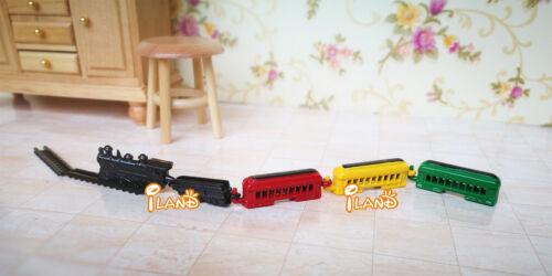 1:12 Dollhouse Miniature Kid's Toy Colored Metal Train & Track Set OT006