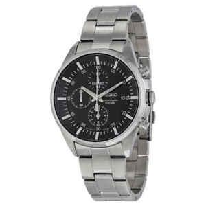 Seiko-Chronograph-Black-Dial-Stainless-Steel-Men-039-s-Watch-SNDC81