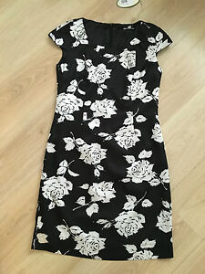 Black-cream-rose-print-floral-tunic-dress-new-with-tags-size-10