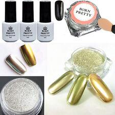 6pcs/set Nail Art Mirror Glitter Powder Dust Chrome Black UV Gel Polish W/Brush