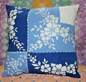 Vintage-Blue-Floral-Floral-Wilendur-Era-Farmhouse-Tablecloth-Throw-Pillow