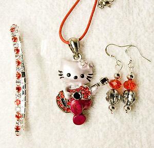 b6d1dce3f new jewelry set Hello Kitty guitar pendant red earrings bracelet ...