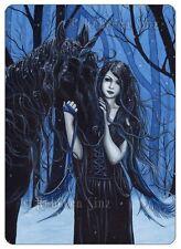Gothic Fantasy Art ACEO PRINT Fairy Unicorn Snow Winter Trees Key Blue