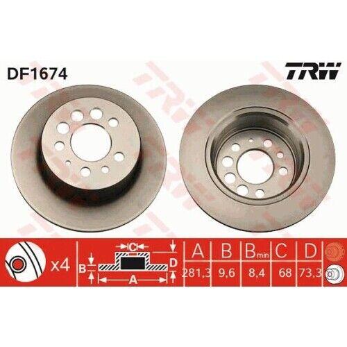 2 Bremsscheibe TRW DF1674 passend für VOLVO