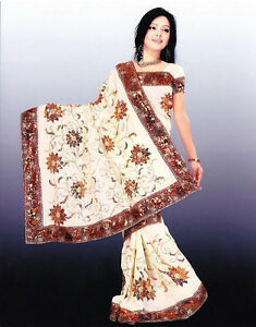New Indian Bollywood Wedding Bridal Traditional Panetar Sari Saree