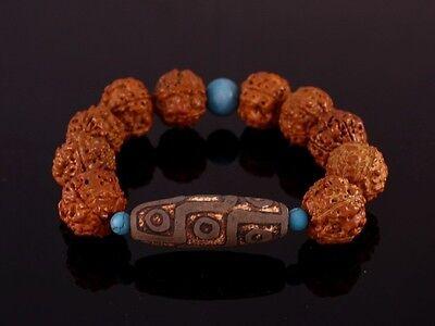 """Huge Old 9-eye dZi Bead Rudraksha Bodhi Seed Turquoise Bracelet 8"""" Strong Energy"""