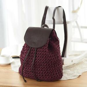 d90518a56184 Image is loading Women-Bag-Backpack-Hollow-Out-Woven-Drawstring-Bag-