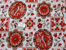 "Vintage Pink Red Brown Floral Birds Cotton Curtain Quilt Fabric 36"" BTHY 1/2 yd"