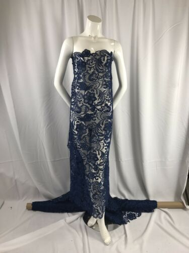 NAVY BLUE FLOWER GUIPURE DESIGN EMBROIDER LACE-NIGHTGOWN-PROM-SOLD BY THE YARD.