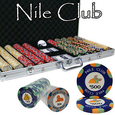 Pick Chips! New 750 Nile Club 10g Ceramic Poker Chips Set with Aluminum Case