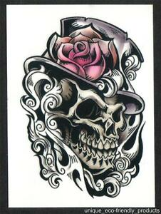 Skull With Top Hat And Rose Temporary Tattoo Ebay