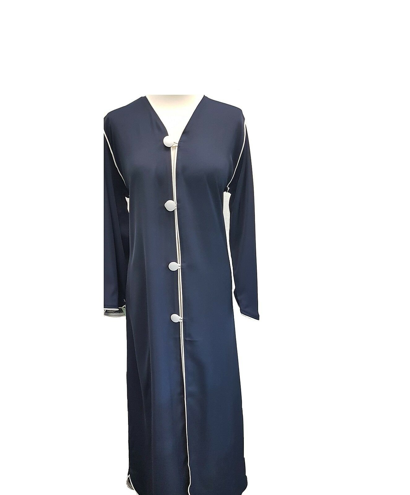 New Ladies Navy bluee A Shape Abaya with White Buttons  Lace on Edges Open Front