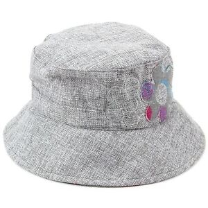 4b7f8b34bea6d Image is loading Ladies-GREY-Bucket-Hat-Hawkins-Cap-Flower-Sun-