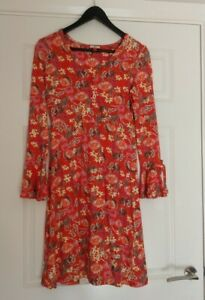 Joe-Browns-Ladies-V-Neck-Faux-Wrap-Tie-Sleeves-Floral-Stretchy-Dress-UK-Size-10