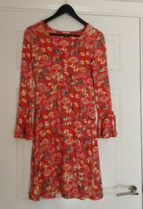 Joe-Browns-Ladies-V-Neck-Faux-Wrap-Tie-Sleeves-Floral-Dress-UK-Size-10
