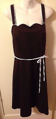 New Rockabilly Pinup R&K Brown & White Sweetheart Swing Dress W Belt 18w