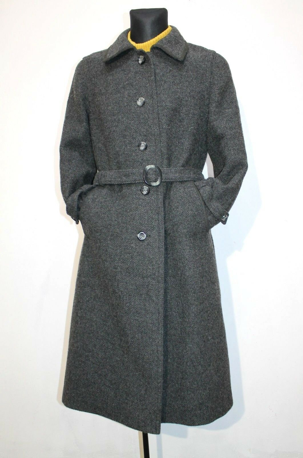 Vintage Tyroler Loden Womens Coat Overcoat Pure Wool Dark Grey EU L