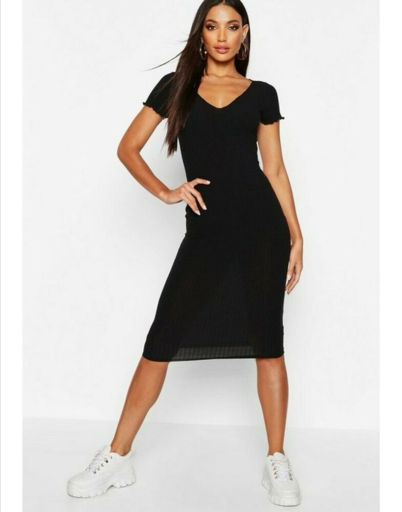 Boohoo Noir Laitue Ourlet Rib Midi Robe Taille 8, 10, 14 Et 16 Disponible