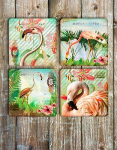 Flamingo-Drink-Coasters-Set-of-4-Non-Slip-Neoprene