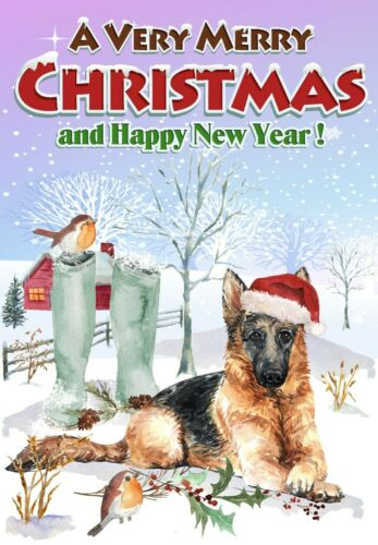 "Christmas Card German Shepherd Dog A6 4/"" x 6/"" by Starprint Blank inside"