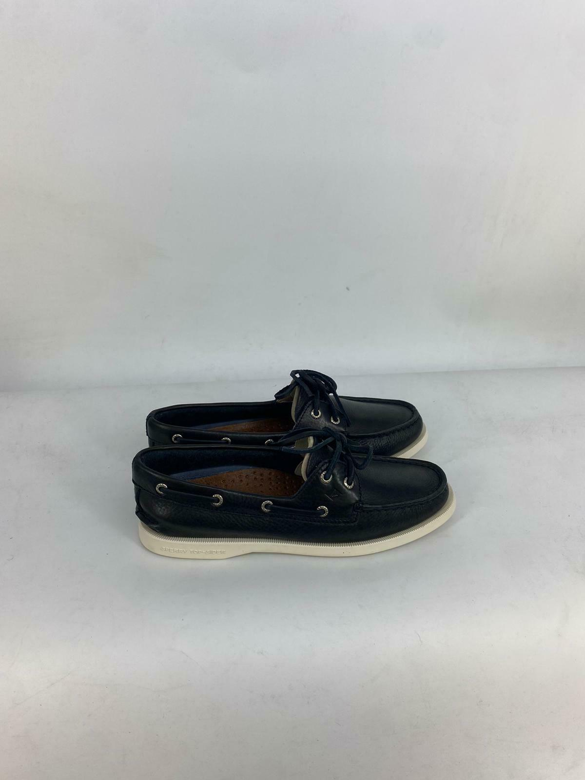 SPERRY WOMENS AUTHENTIC ORIGINAL WIDE LEATHER BOAT SHOE BLACK STS81164 SIZE 7.5W