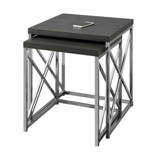 Monarch 2 Piece Nesting Table Set in Gray Wood and Chrome