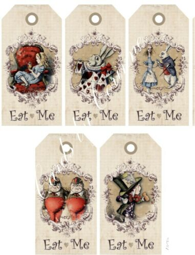 Alice in Wonderland 20 eat me drink me tags party decoration red satin ribbon