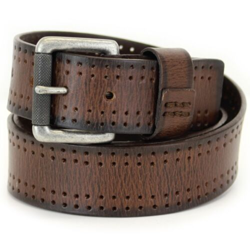 Jeans de Cuero de grano completo marrón-Correa Caballeros Hombre-Varios Tamaños