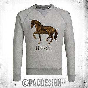 FELPA-UOMO-GRAPHIC-ANIMAL-POLYGONAL-STREETWEAR-HORSE-CAVALLO-VINTAGE-NE0178A