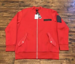 Adidas-Men-s-Scarlet-Red-Dame-Core-Bomber-Embossed-Jacket-Size-L-AO1644