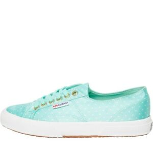 Superga 2750 DOTSSATIN Canvas Pumps Aqua Dots White UK 7 EU 41 RRP £54.99