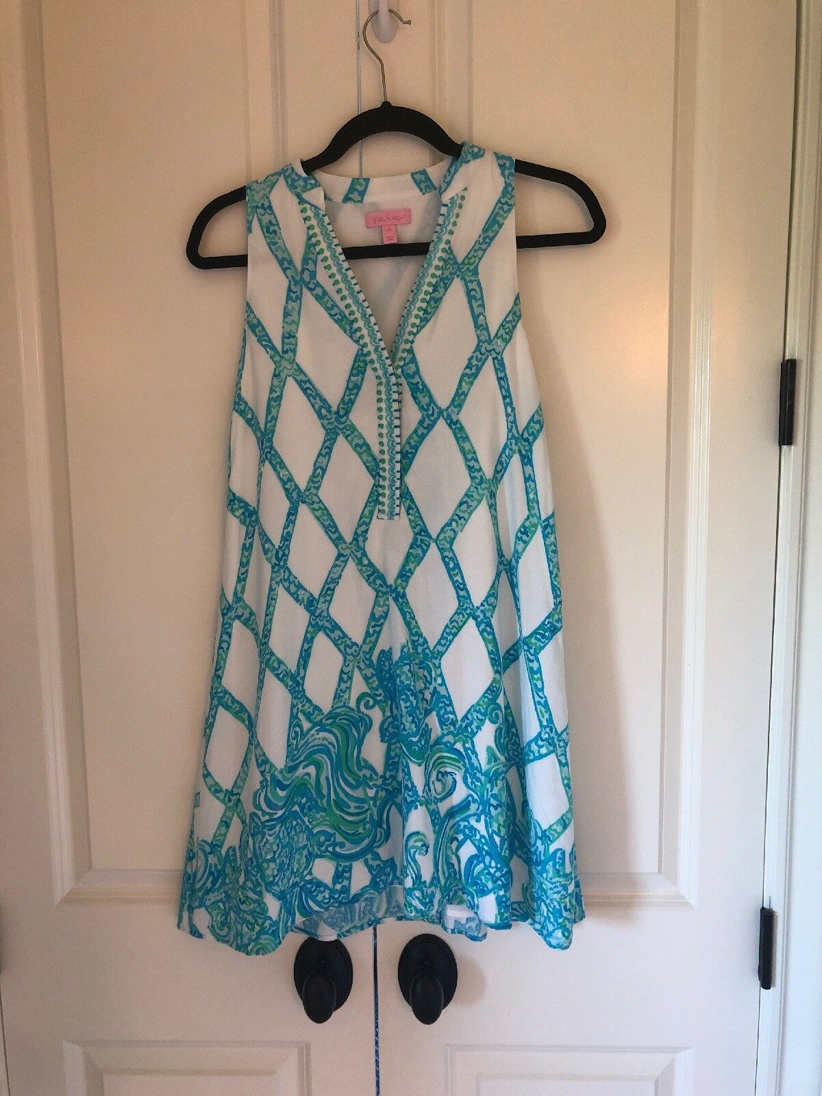 Lilly Pulitzer Anne Trapeze Dress XS Resort White Turtle Cove