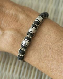 Bracelet-Friendship-Ethnic-Mixed-Creation-Craft-Wood-Beads-Black-Silver-21204