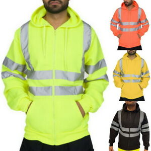 US-Men-039-s-Road-High-Visibility-Pullover-Long-Sleeve-Hooded-Sweatshirt-Tops-A4066