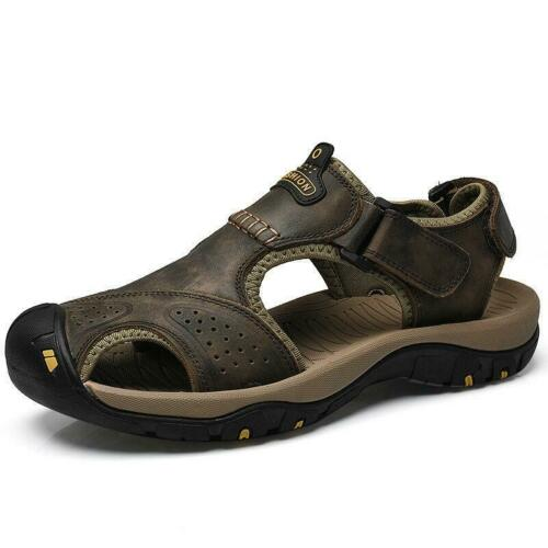 Mens Outdoor Hiking Genuine Leather Sandals Summer Camping Fisherman Shoes US
