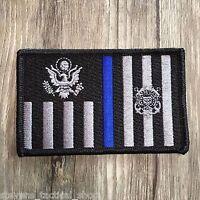 Thin Blue Line Subdued Coast Guard Ensign Flag Patch, Law Enforcement