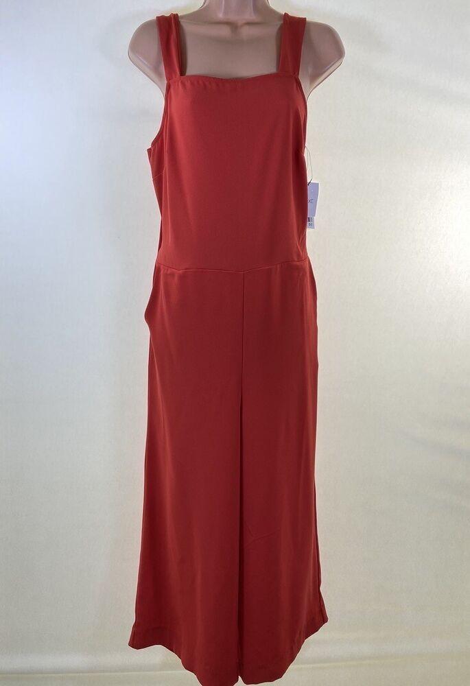 Bnwt Next Rouge Crêpe Encolure Carrée Ajourées Culotte Jambe Large Combinaison Taille 10 38 £ 42