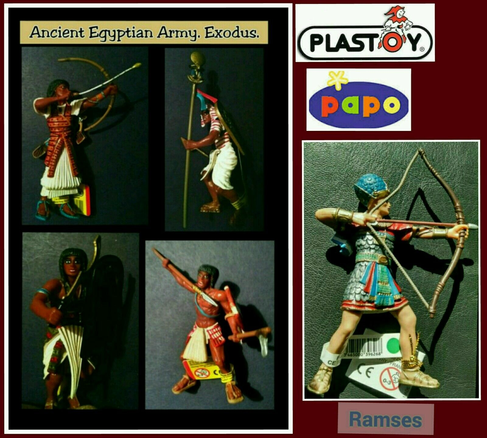 Plastoy Ancient Egypt Action Figures 5pc lot Ramses II Egyptian Pharaoh's Army
