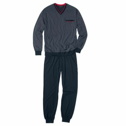 Götzburg Pure Cotton mit V-Ausschnitt und Bündchen Herren Schlafanzug lang