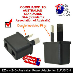 saa electrical 240v travel 2 pins power adapter au to usa. Black Bedroom Furniture Sets. Home Design Ideas