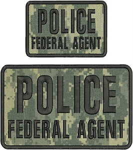 POLICE SPECIAL AGENT EMBROIDERY PATCH 6X8.5 AND 4X6 HOOK ON BACK NAVY BLUE//WHITE