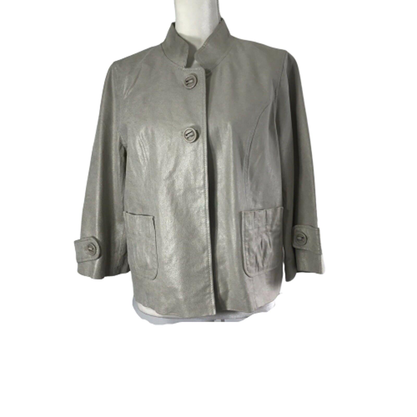 Bernardo Genuine Leather Jacket Womens Large Shiny Gray Button Down